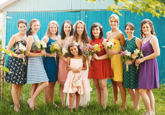Colorful Non-Matching Bridesmaids Dresses
