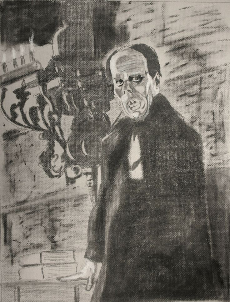 Lon Chaney Sr. As The Phantom Of The Opera. Pencil, Charcoal, Conte Crayon On Grey Textured Paper. 18 X 24