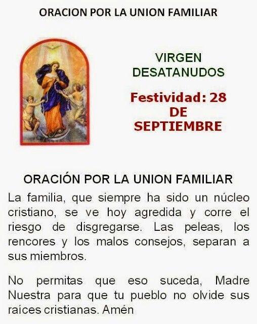 Virgen Desatanudos, por la unión familiar.