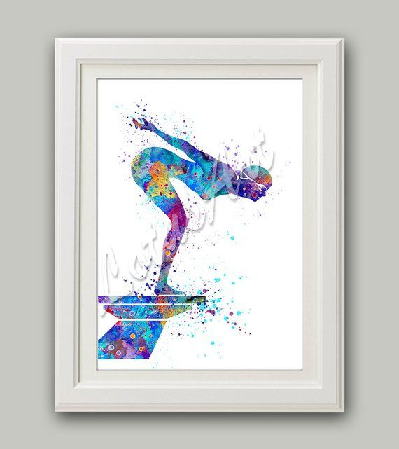 Girl Swimmer Art Sports Art Swimmer Gift Watercolor Print Sports Prints Swimming Art Sports Wall Decor Girl S Room Decor Girl Swimming Print Art Small Canvas Paintings Posters Art Prints