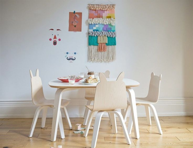 Oeuf Rabbit Play Chairs And Table Set In Walnut