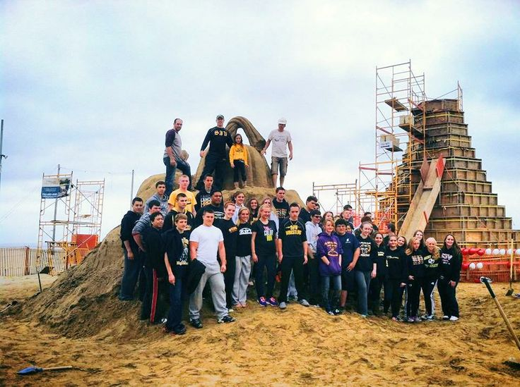 Students from St. John Vianney High School came out to help us construct Sandy Castle. #sandcastle #JerseyShore #NewJersey #beach