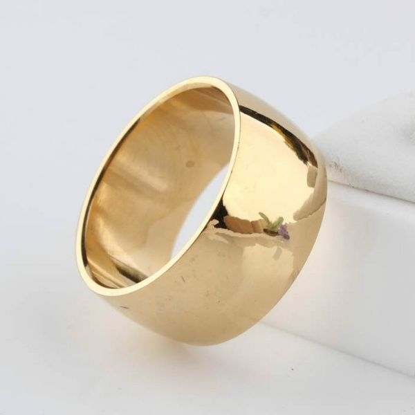 12mm No Fading 24k Classic Engagement Wedding Rings 1 2cm Yellow Gold Ring Filled 316l Titanium Steel Rings For Men And Women Wish Rings For Men Titanium Steel Rings Yellow Gold Rings