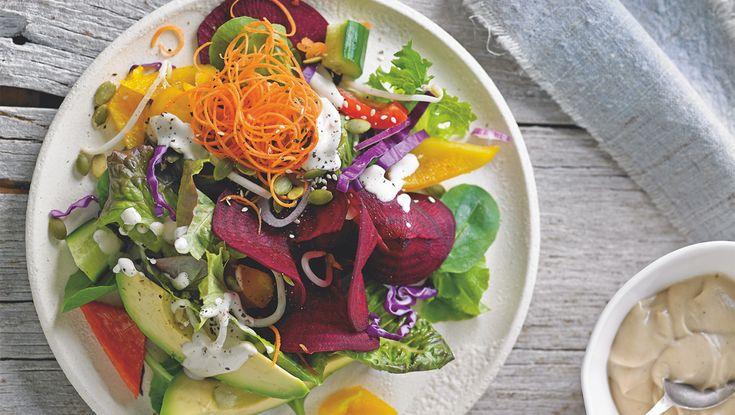 Rainbow Tahini Salad Recipe  #vegan #veganrecipe #vegansalad #tahinidressing #tahinirecipe #veganfood #veganfoodshare #recipeshare #veganblog #sproutmarket #plantbasedcookin