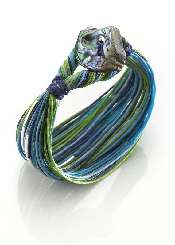 SWIM Blue and New Zealand Paua Shell Comfortable Waxed Linen