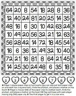 Math Coach's Corner: Addition and Multiplication Move 1. This is a game I first saw in the Nimble with Numbers series, but I wanted to prettify it and give it a Valentine's theme.  I can't remember what they called it, but I call it Move 1, because you can only move one paper clip at a time.  There are two versions--one for addition facts to 9 + 9 and another for multiplication facts to 9 x 9.  I also included a multiplication/division chart for support.