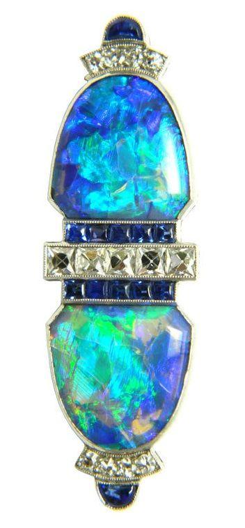 GILLOT & CO Art Deco Diamond Sapphire and Black Opal Brooch 1920s. ArtDeco Gillot brooch #opalsaustralia