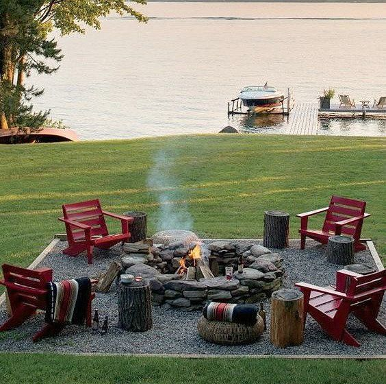Backyard seating created with gravel and fire pit.