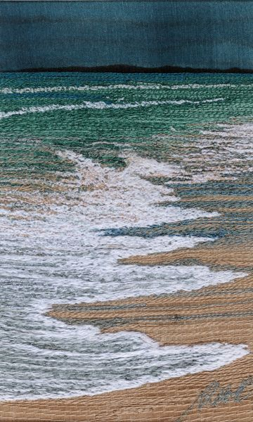 Running up the Beach free motion machine embroidery 3 by 5 by Alison Holt