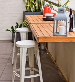 Patio inspiration: narrow &/or fold-down table with metal barstools