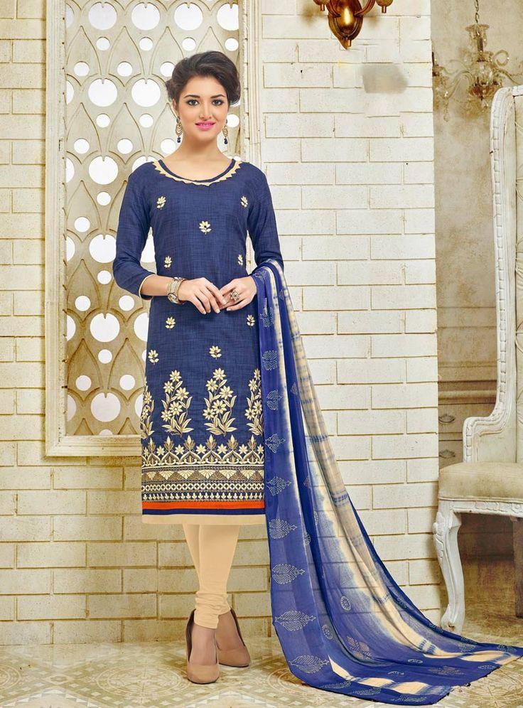 Blue Silk Churidar Salwar Kameez 79710