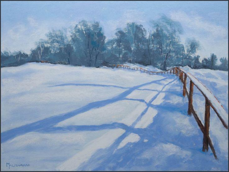 Snowy Meadow Soft pastel painting by Olli Malmivaara 30 x 40 cm on Pastelmat