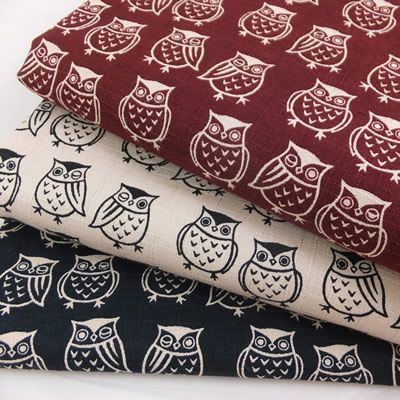 CT Dobby Cotton Owls Burgundy 1/2 METRE - view 3 http://www.fabricinspirations.co.uk/acatalog/copy_of_copy_of_Dobby_Cotton_Owls_Burgundy.html
