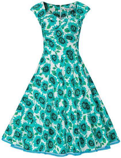 floral MUXXN Capshoulder Rockabilly Dresses