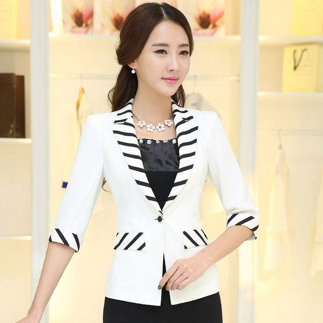 2016 mujeres media manga un botón del remiendo delgado de rayas abrigo fino del verano chaqueta moda para mujer de la oficina chaquetas tops