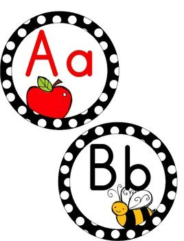 Black & White Polka Dot Word Wall - thIs set contains headers with color pictures, red vowels and a primary dotted line background for the words to show proper letter formation.