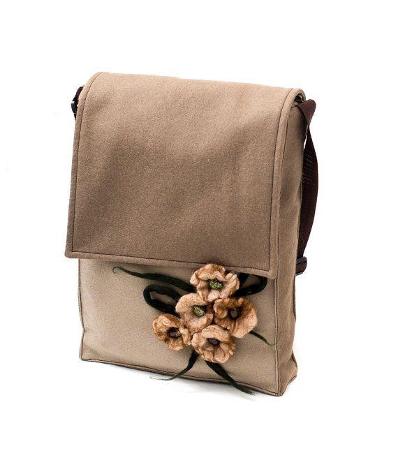 Brown messenger made from soft felt & alcantara with wet felted flowers.  Handmade by Anardeko