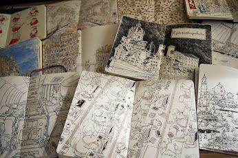 "SketchbookSkool Fakulty member Mattias Adolfsson: ""Spread mania"". Join us! Try a class on us - for #free! http://sketchbookskool.com/pages/promo/SBS20140021/SBS20140021.html #artforall #urbansketchers #artjournal #illustratedjournalling"