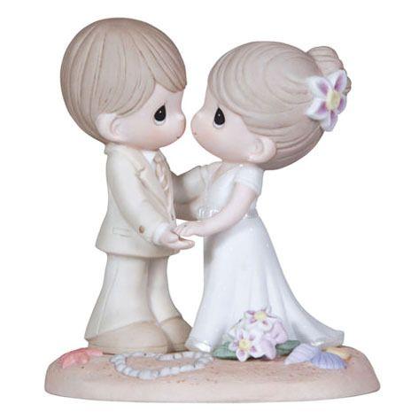 ♥ New Precious Moments Figurine Beach Wedding Couple Statue Cake Topper Flower | eBay