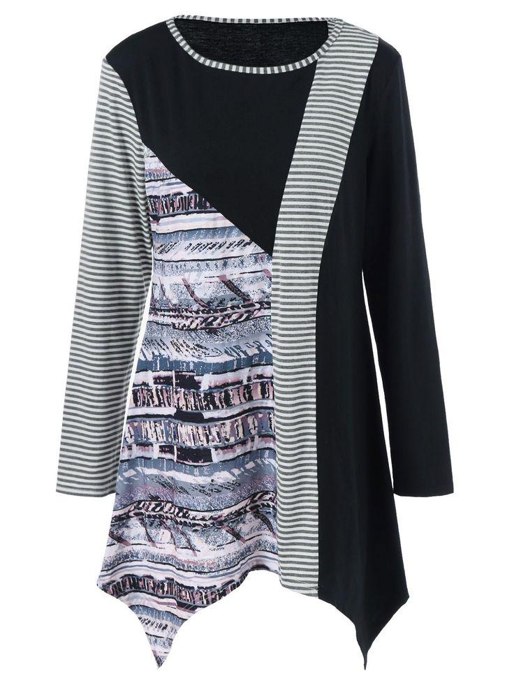 Striped Trim Asymmetrical Plus Size T-Shirt #jewelry, #women, #men, #hats, #watches, #belts, #fashion