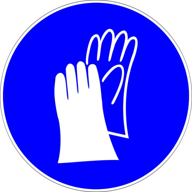 Science Laboratory Safety Signs: Blue Gloves Required Symbol