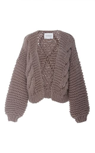 This **I Love Mr. Mittens** bomber features a cable knit, light purple color, and a relaxed, open, fit.