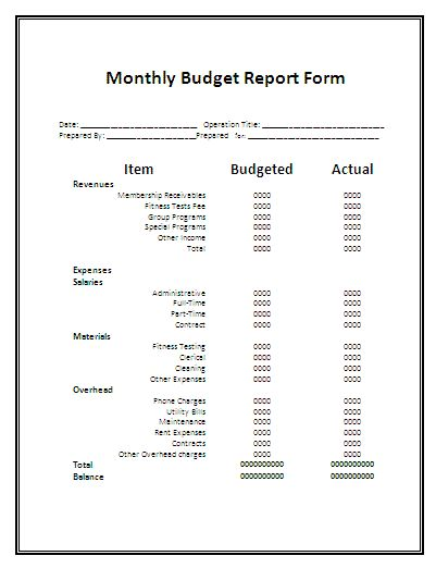 Monthly Report Form