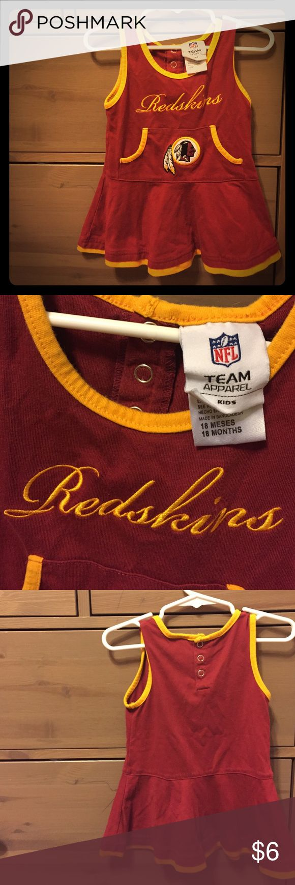 Baby Girl Redskins Cheerleader Dress NFL Team Apparel. Used condition.  18m. 60% cotton 40% polyester. Machine wash cold separately gentle cycle. Loose thread in embroidery - see pic. NFL Dresses Casual
