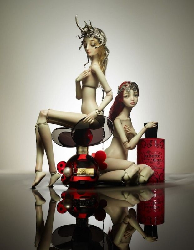 Fragrance editorial with dolls by Marina Bychkova for Vogue Japan Beauty December 2012 photographed by Lacey.