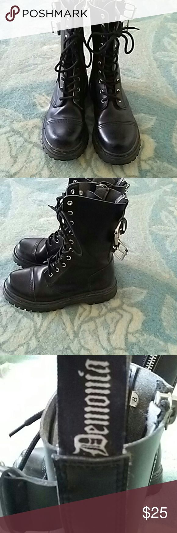 Demonia Punk Goth Combat Boots Men's size 8, women's 9.5. Very cute and durable boots. A little too big for me, so I believe they are true to size Demonia Shoes Combat & Moto Boots