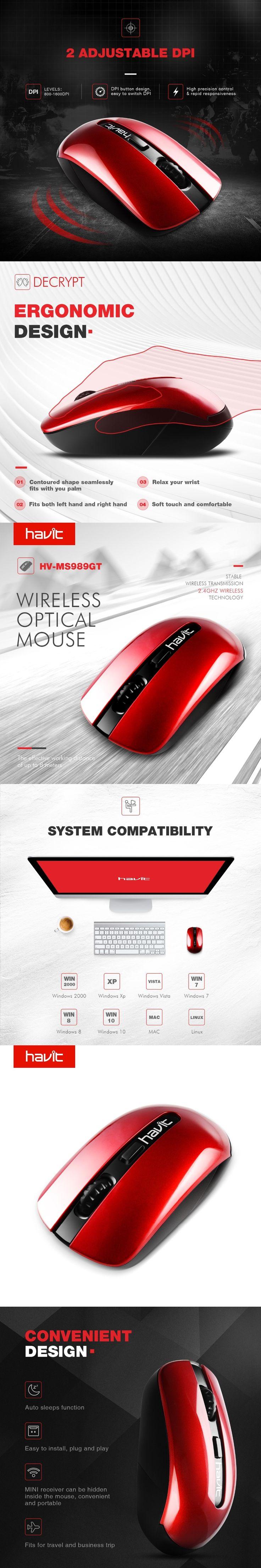 HAVIT  2.4G Wireless Gaming Mouse 800 1600DPI Relax Wrist Ergonomic Design Optical Mouse For PC Laptop Desktop HV-MS989GT