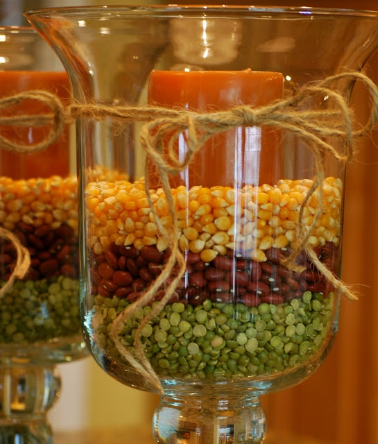 Fall Decorating with Hurricane Vases | Amanda Jane Brown. So pretty! Very simple and cost effective table decor!