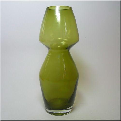 Riihimäen Lasi Oy / Riihimaki green glass vase, design number 1376, 250mm tall, attributed to Aimo Okkolin.