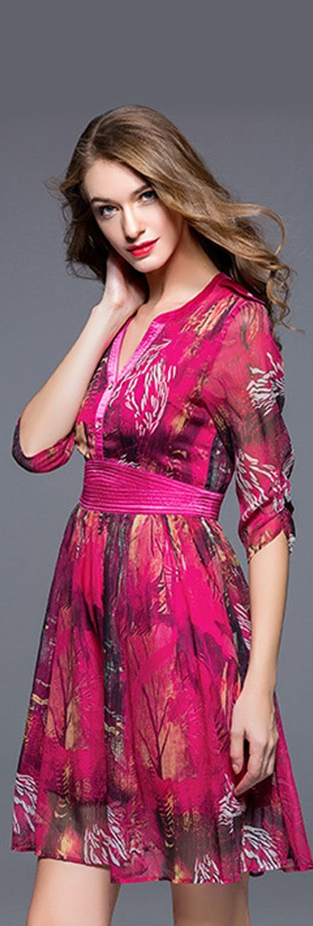 Rose Red Half Sleeves Print Dress