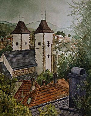 Kunstneren i Bergen: Mariakirken i Bergen, akvarell