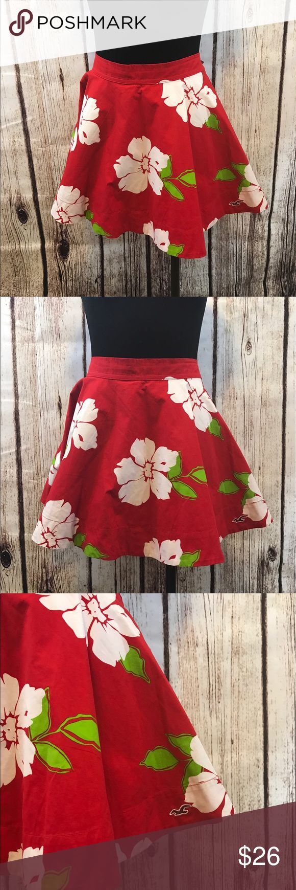 Supper cute floral Hollister skirt Very pretty bright red aloha circle mini skirt size medium has elastic in the back Hollister Skirts Midi