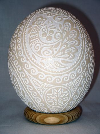 Etched Ostrich Egg