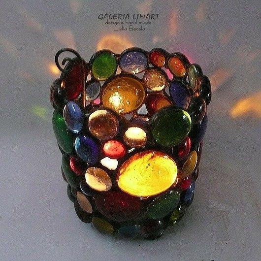 An unusual gift for those who love unique hand made. Lantern of glass cabochons //  Prezent niezwykły dla osób kochających unikaty hand made. Lampion ze szklanych kaboszonów