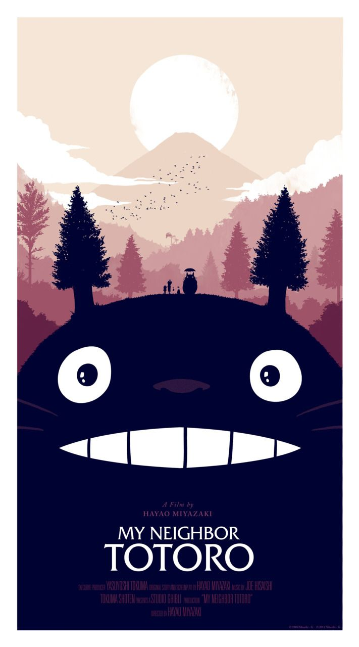 I remember this movie from when I was little!: Movie Posters, Totoro Posters, Not Them Miyazaki, Hayaomiyaza The, Posters Design, Illustration, Olli Moss, My Neighbor Totoro, Studios Ghibli