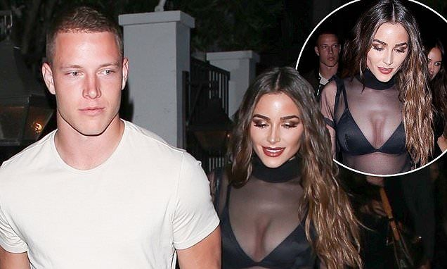 Olivia Culpo Stuns In A Sheer Top As She Steps Out With Beau Nfl Footballer Christian Mccaffrey National Football In 2020 Olivia Culpo Christian Mccaffrey Sheer Top