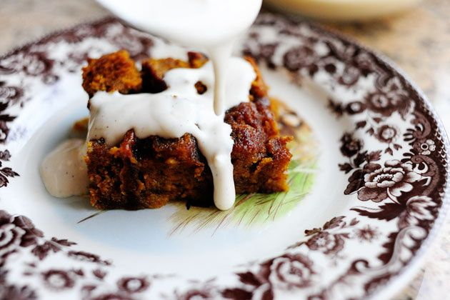 Bobby Flay's Pumpkin Bread Pudding with Spicy Caramel Apple Sauce and Vanilla Bean Creme Anglaise