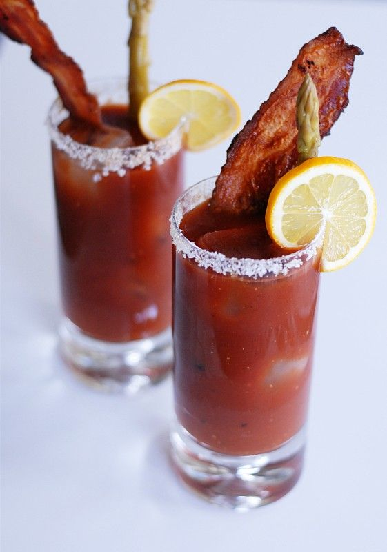 This might be my kind of bloody mary!  Bacon Bloody Mary.  Use Spicy V8 instead of tomato juice and a peppered or bacon flavored vodka for even more flavor.  Garnish with a super crispy bacon slice and  pickled dilly beans, pickled okra, or\and a pickle spear.