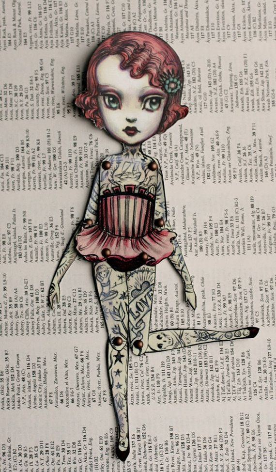 You Are So Special - The Amazing Tattooed Girl - fully assembled articulated paper doll by Mab Graves $12