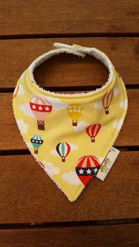 Check out this item in my Etsy shop https://www.etsy.com/listing/210347619/baby-dribble-bandana-bib-yellow-hot-air