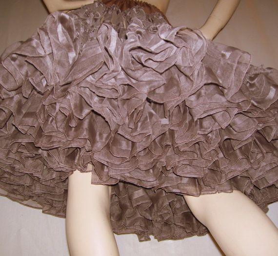 Chocolate Brown Crinoline Skirt Halloween Costume Slip Petticoat Vtg Made in Detroit Huge Full Square Dance Fluffy Party Adult S to Plus
