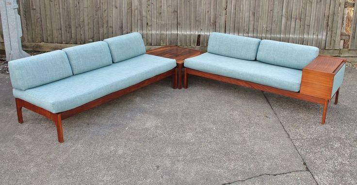 Vintage teak corner sofa day bed rosewood table suite for Sofa bed 60s