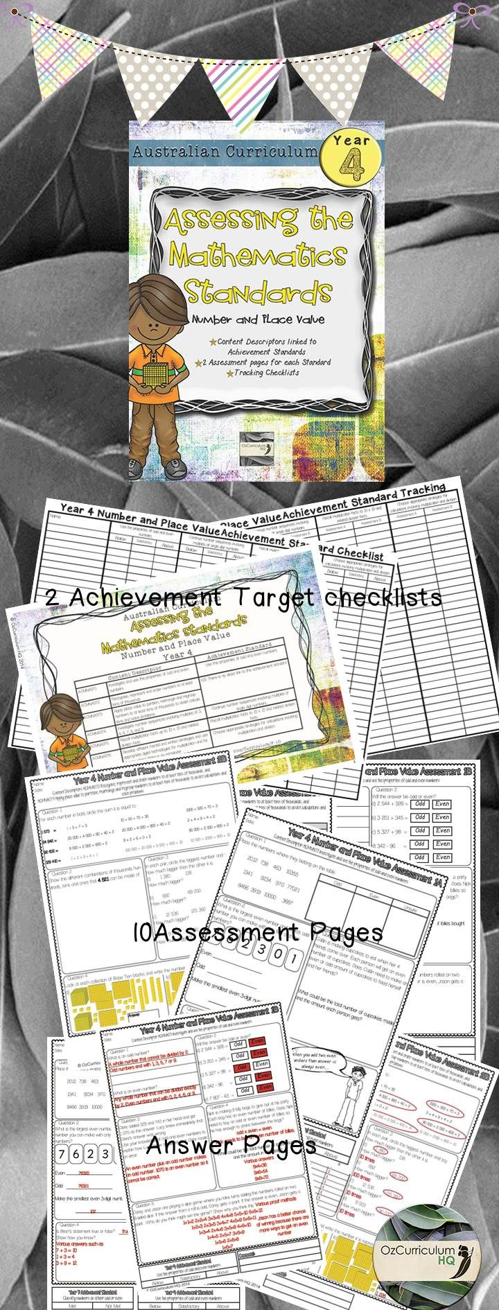 Maths assessment pages directly linking each of the content descriptors and achievement standard of the Year 4 Australian Curriculum for Mathematics. Content Descriptors Covered ACMNA071 ACMNA072 ACMNA073 ACMNA074 ACMNA075 ACMNA076