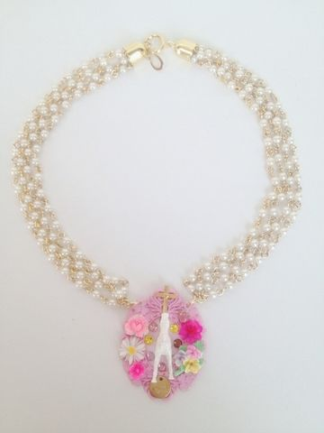 """""""MICHU COQUETTE""""vintage pony&crossの4連パールnecklace pink"""