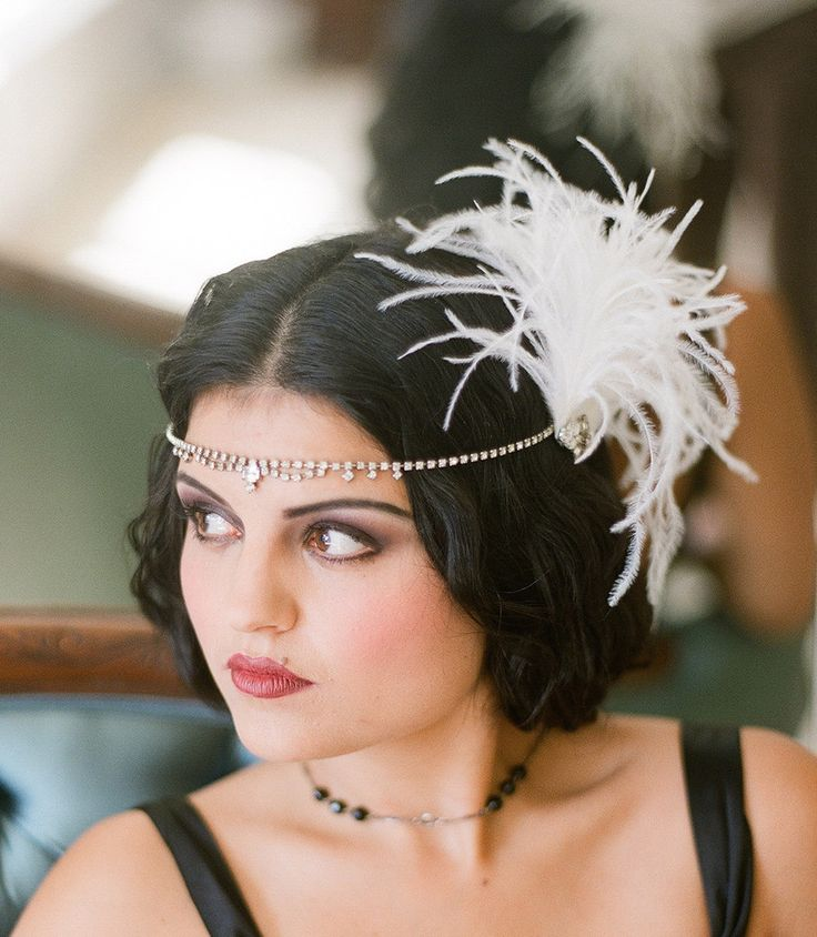 1920s, fascinator, feathers, flapper, forehead band, gatsby, hair accessory, hairpiece, halo, head band, headpiece, ivory, rhinestones, white, , hair, accessories, headpieces, headband