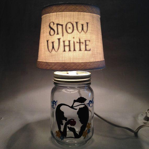 Mason Jar Small Lamp Night Light Snow White Influenced Small Lamps Small Mason Jars Mason Jars